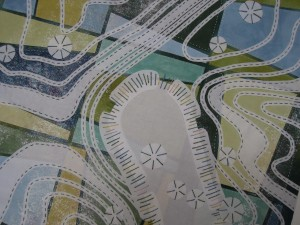 3. Downland on fabric - Cissbury Ring detail